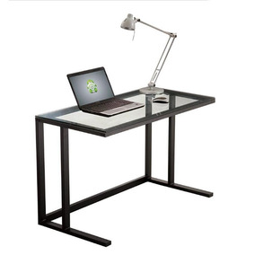 Escritorio Mesa Metal Negro Y Vidrio 120 X 60 X 75 Cm