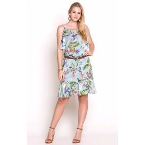 Vestido Casual De Boutique Estampado Alças E Babados