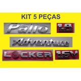 Kit Emblema Palio + Locker + 1.8 + 16v + Adventure 5 Peças