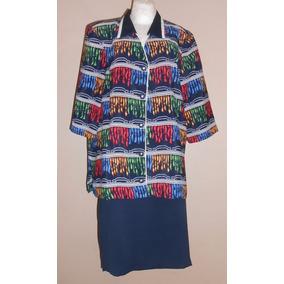 Davinchy Conjunto Moderno Saco Y Falda Azul Talla 40 Mex