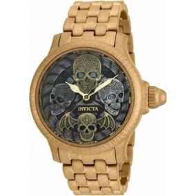Relógio Invicta Artist 19858 Skull Caveira Banhado Ouro