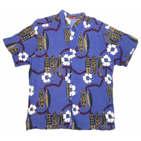 Camisa Hawaiana Tropical Floreada Surf Violeta Talle Xl 910