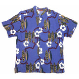 Camisa Hawaiana Tropical Floreada Surf Violeta Talle Xl 910