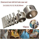 Kit Serra Copo Diamantadas Brocas 03-50 Vidro Cerâmica