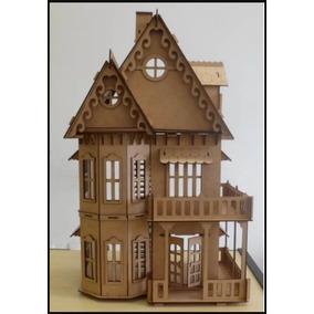 Casa De Bonecas Em Mdf Polly Barbie E 24 Móveis 75cm