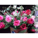 Ramo De Rosas Artificiales Con Hojas Color Y Flor Bca