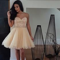 Vestido De Festa Curto/debutante/15 Anos/champagne/dourado