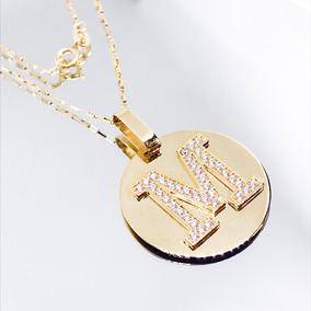 Pingente Com Duas Letras Correntes Outra - Corrente de Ouro Feminino ... 012d7c0250