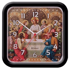 6696 Relógio Parede 23 Cm Santa Ceia Tic-tac Preto Herweg