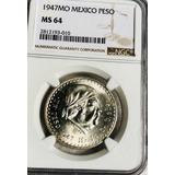 Moneda $1 Peso Mexico Morelos 1947 Plata Certificada Ms64