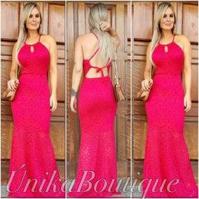 Vestido Sereia Azul Royal Rosa Pink Bojo Casamento Madrinha