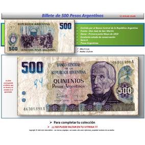 Billete 500 Pesos Argentinos Don José De San Martín Serie A