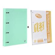 Fichário Caderno Argolado Verde Pastel Yes+ 1 Bloco Extra A4