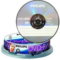Dvd-rw Regravável Philips Mídia Virgem C/10 100% Original
