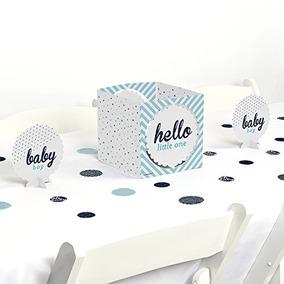 Hello Little One - Azul Y Plata - Niño Baby Shower Centerpi