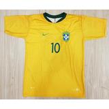 Camisa Do Brasil Com Bordado Poliéster Amarela Nº 10