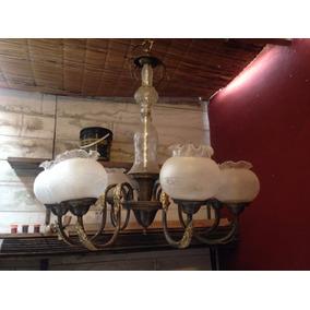 Araña Antigua De Bronce Y Cristal