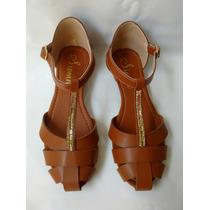 Linda Sandalia Marron Para Mujer Calzado Moda Envio Gratis