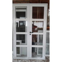 Puerta De Aluminio Vidrio Repartido Horizontal Dos Hojas