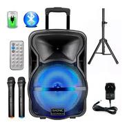 Bafle Potenciado 12 3500w Bluetooth Usb Sd Bateria Luces Led