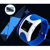 Facacartão Canivete Tático Dobrável + Relógio Led Azul