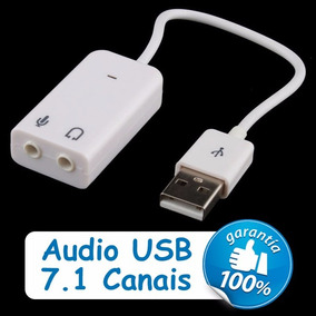 Placa De Som Usb 7.1 Branco Notebook Pc Adaptador Audio 3d