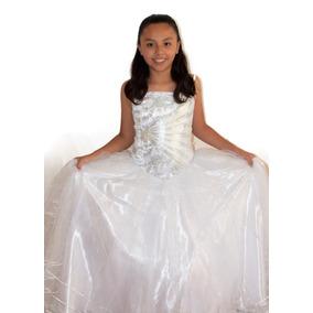 Vestido Elegante Primera Comunión Falda De Brillos