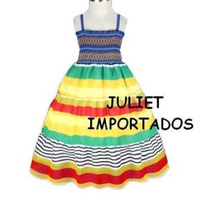 Cod 231 - Vestido Infantil Importado Listrado 6 - 7 Anos