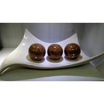 Enfeite Centro De Mesa Em Cerâmica C/3 Bolas Linha Petra