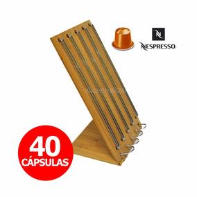Porta Cápsulas Nespresso Madera Bamboo Cromado - 40 Capsulas
