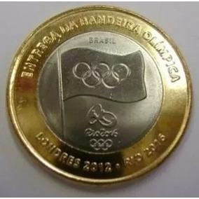 Moeda Da Entrega Da Bandeira Olímpica Nova Zera Brilho 100%