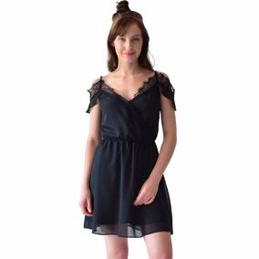 Vestido Corto Casual Rack & Pack Encaje Color Negro