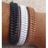 3 Pulseiras Bracelete Masculina Tribal Couro Linda