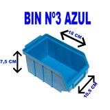 Caixa Gaveta Plástica Azul Ou Preta Nº3 Bin 20 Peças