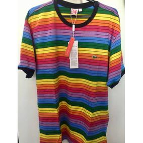Camiseta Lacoste Masculina Listrada De Camisetas Tamanho G ... a9336040de