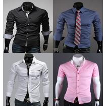 Kit 2 Camisas Masculina Social Slim Fit Vários Modelos