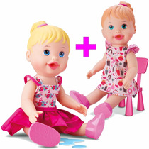 Kit 2 Baby My Little Collection Alive Faz Xixi + Lanchinho