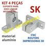 Kit 4 Peças Suporte Para Eixo Linear 16mm Sk16 Cnc Router 3d