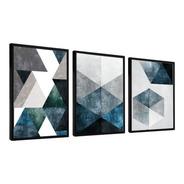 Quadro Mosaico Abstratos Azul E Neutro 80x60 Cada Quadro