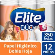Papel Higiénico Elite Duo 350 Hojas Dobles Con 12 Rollos