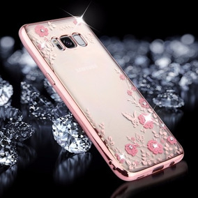 Funda Back Cover Tpu Con Flores Y Pedrería Samsung Galaxy S8