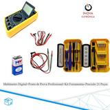 Multimetro Digital +ponta De Prova Prof+kit Ferramentas 21