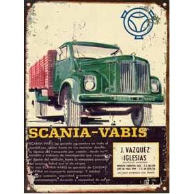 Cartel De Chapa Publicidad Antigua Camion Scania Vabis M247