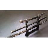 01 Conjunto Espada+ Kit 04 Shuriken Estrela Nº5 Nº6 Nº7 Nº8