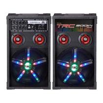 Caixa De Som Amplificada 2 Microfones 200w Rms Usb Trc 360