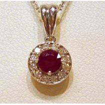 Pingente Ouro Amarelo 18k Com Rubi E Diamantes