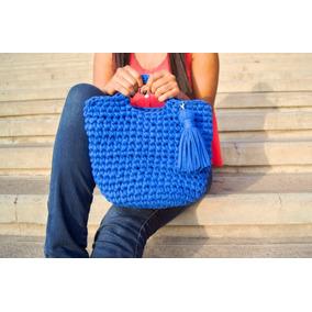 Cartera Azul Tejida, Bolso Crochet
