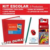 Kit Set Utiles Escolares 5 Productos Con Cuaderno Tapa Dura