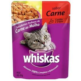 Ração Whiskas Sachê Carne Para Gatos Adultos 18 Unidades
