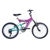 Bicicleta Track Xs20 Aro 20 6 Marchas Suspensão Dupla - Rosa